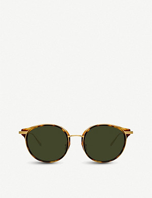 LINDA FARROW 911 C2 tortoiseshell acetate and yellow-gold plated titanium sunglasses