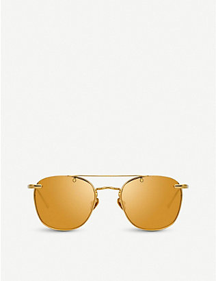 LINDA FARROW: 922 C1 yellow-gold plated titanium aviator-frame sunglasses