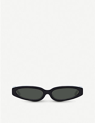 LINDA FARROW: 960 C1 acetate angular-frame sunglasses