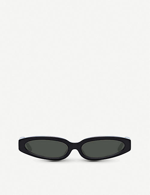 LINDA FARROW 960 C1 acetate angular-frame sunglasses
