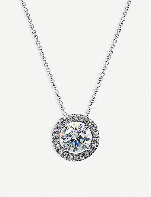 CARAT LONDON Classic Borderset sterling silver and diamond pendant