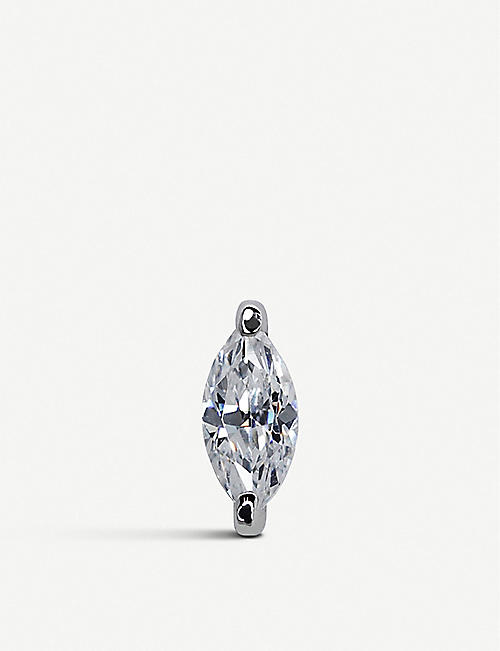 CARAT LONDON Marquise sterling silver single earring