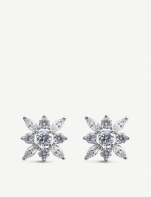 CARAT LONDON Camelia white-gold plated stud earrings