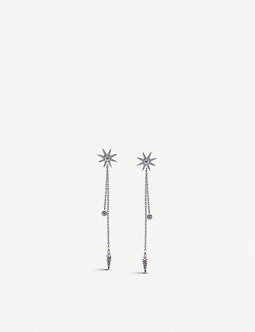 CARAT LONDON Nova white-gold plated sterling silver drop earrings