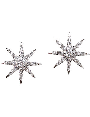 CARAT LONDON Vega white-gold plated sterling silver earrings