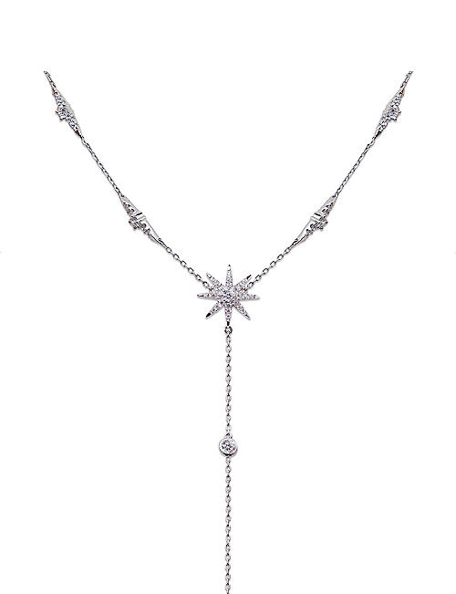 CARAT LONDON Mimosa white-gold plated sterling silver drop necklace