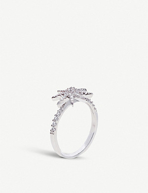 CARAT LONDON Vega white-gold plated ring