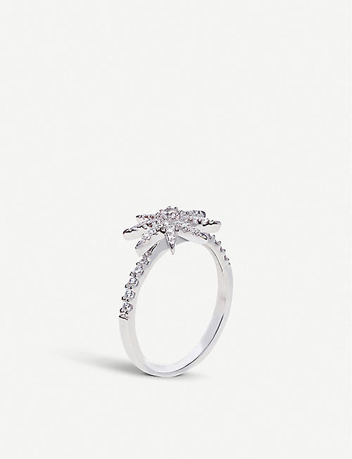 CARAT LONDON: Vega white-gold plated ring