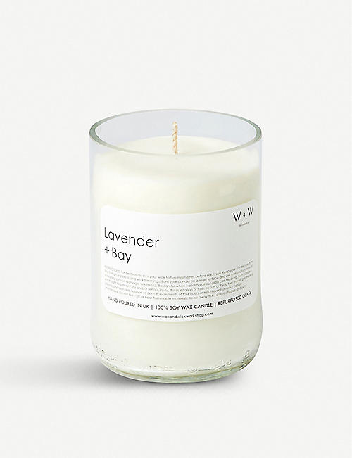 WAX & WICK Wax + Wick lavender and bay leaf scented candle