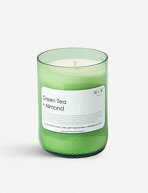WAX & WICK Wax + Wick green tea and almond scented candle