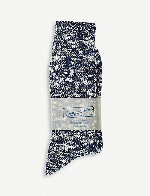 THE CONRAN SHOP: Slub Crew cotton-blend socks