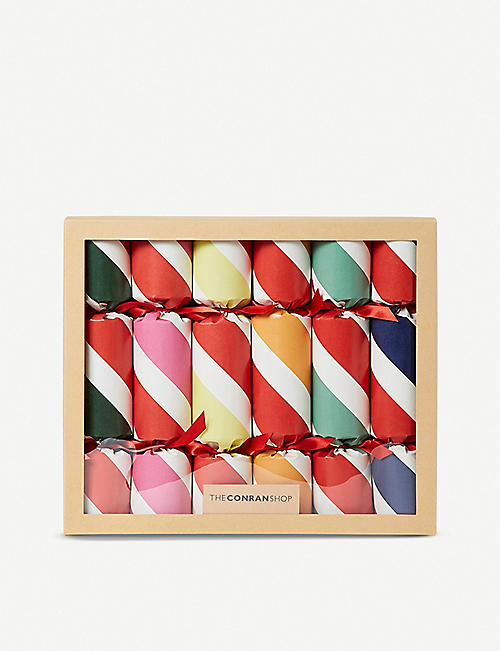 THE CONRAN SHOP Jumbo Stripes Wooden Gift Christmas Crackers set of six