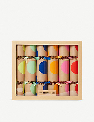 THE CONRAN SHOP Jumbo Spot Christmas Crackers set of six