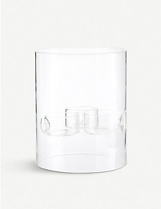 THE CONRAN SHOP: Riccardo Forti Cilindro Hurricane glass three-tealight holder 15cm