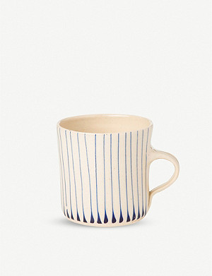 THE CONRAN SHOP Wonki Ware striped glazed clay breakfast mug