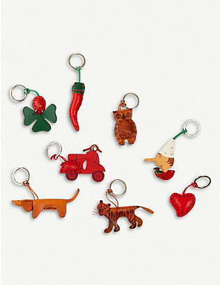 THE CONRAN SHOP: Leather and stainless steel novelty keyring