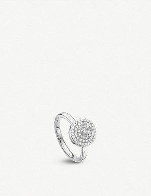 MONICA VINADER Fiji Large Button sterling silver and diamond stacking ring
