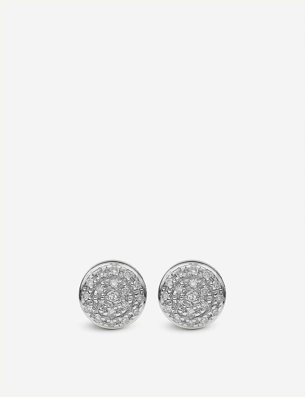 14fd655ea MONICA VINADER - Fiji mini button silver and diamond stud earrings ...