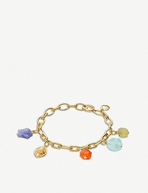 MONICA VINADER 18ct gold vermeil, quartz, green amethyst, amethyst and aquamarine bracelet