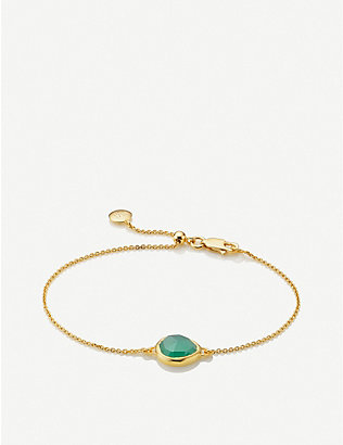 MONICA VINADER: Siren mini 18ct yellow-gold vermeil and onyx bracelet