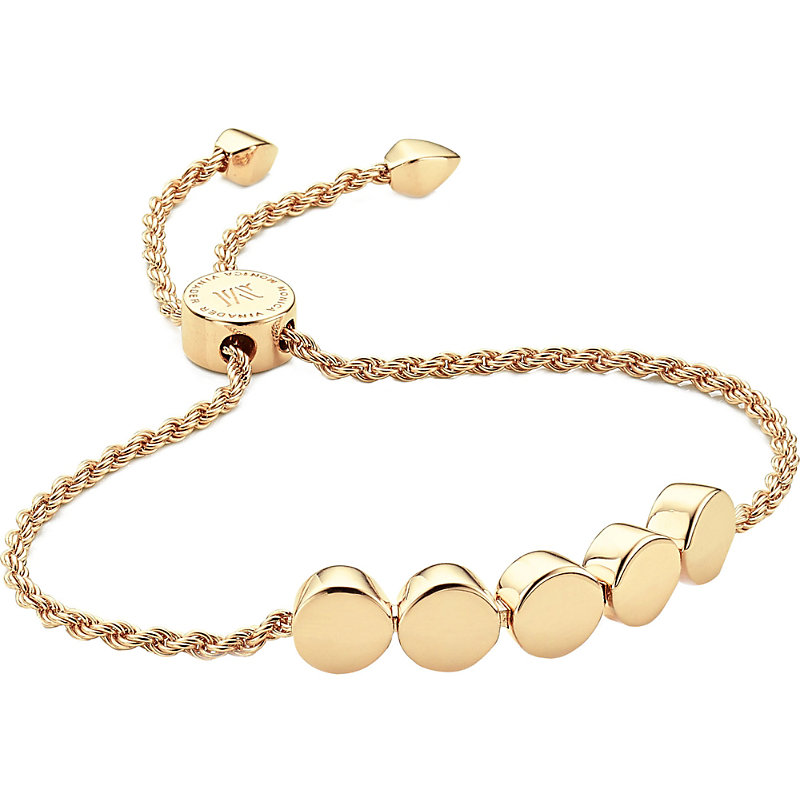 MONICA VINADER | Linear Bead 18ct Yellow-Gold Plated Friendship Bracelet | Goxip