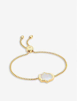 MONICA VINADER Hamsa Hand friendship 18ct yellow gold-vermeil and moonstone bracelet