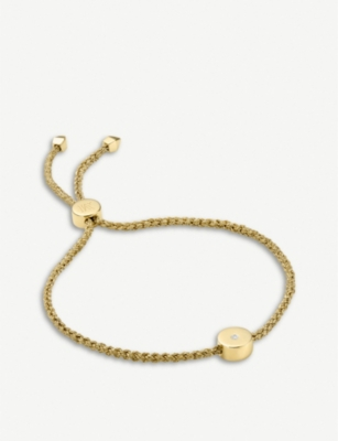 MONICA VINADER Linear Solo 18ct yellow-gold vermeil and diamond friendship bracelet