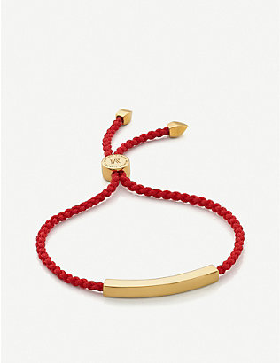MONICA VINADER: Linear 18ct gold-plated vermeil silver friendship bracelet
