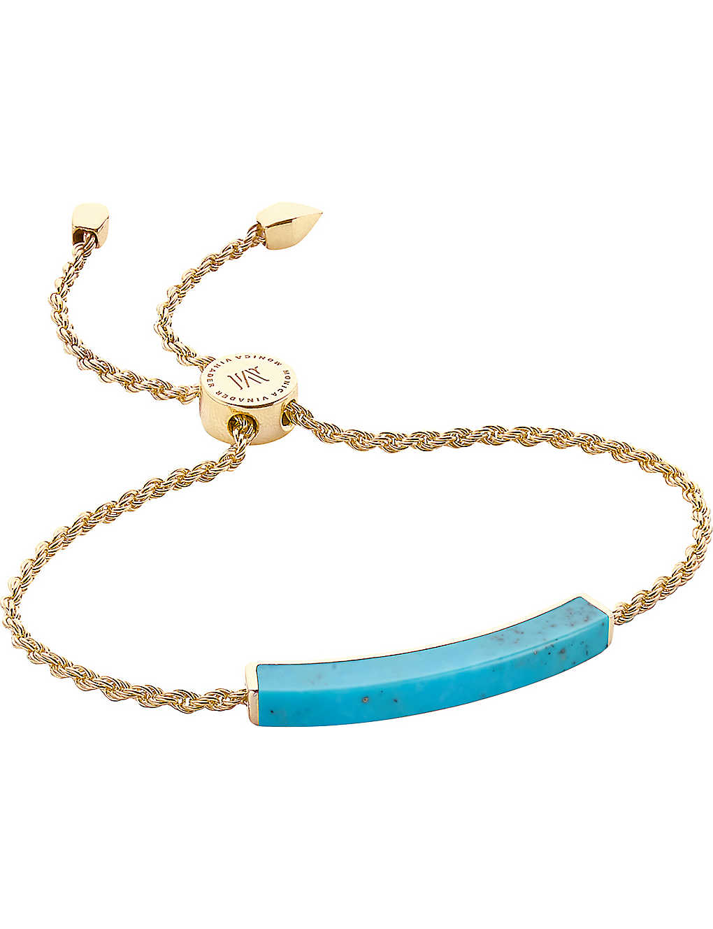 MONICA VINADER: Linear 18ct gold-plated turquoise bracelet