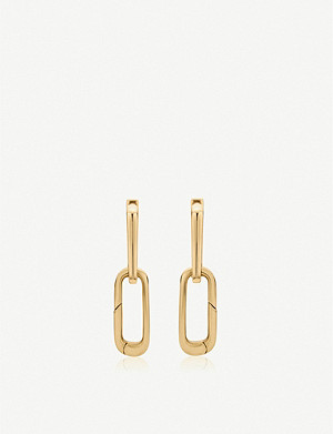 MONICA VINADER Alta Cap Charm 18ct gold-vermeil link earrings