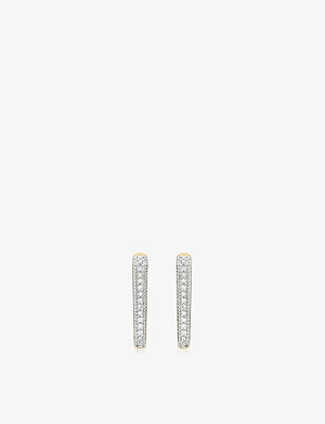 MONICA VINADER Alta Capture Huggie gold-vermeil and diamond earrings