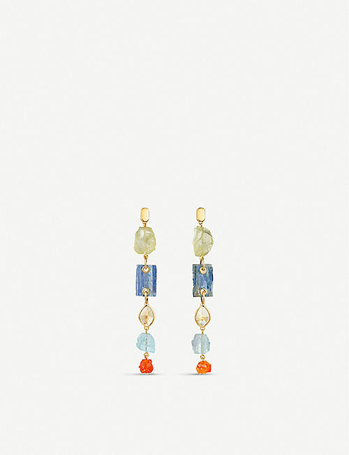 MONICA VINADER Monica Vinader x Caroline Issa 18ct gold, vermeil silver and gemstone cocktail earrings