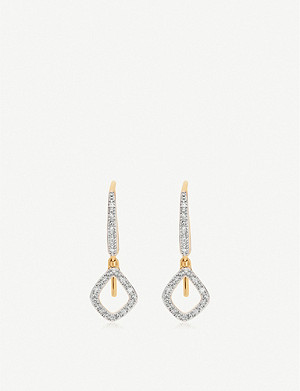 MONICA VINADER Riva Mini Kite 18ct yellow-gold vermeil and diamond drop earrings