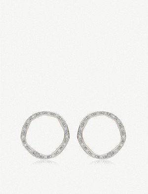 MONICA VINADER Riva Diamond Circle Stud 18ct yellow-gold vermeil earrings