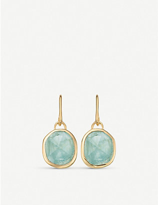 MONICA VINADER: Siren 18ct gold-plated vermeil silver wire earrings with aquamarine
