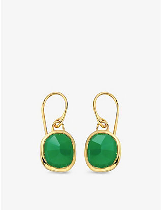 MONICA VINADER: Siren 18ct gold-plated wire earrings with green onyx