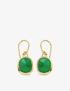 MONICA VINADER Siren 18ct gold-plated wire earrings with green onyx