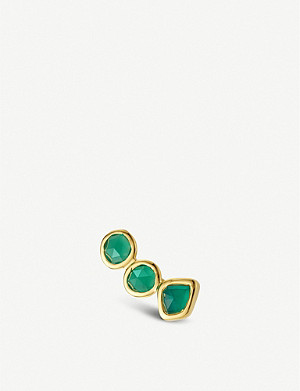 MONICA VINADER Siren 18ct yellow gold-vermeil and green onyx climber single earring