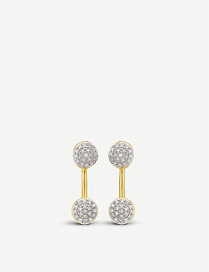 MONICA VINADER Fiji mini button 18ct gold vermeil and diamond jacket earrings