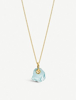 MONICA VINADER Monica Vinader x Caroline Issa 18ct gold-vermeil and aquamarine necklace