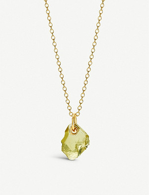 MONICA VINADER Monica Vinader x Caroline Issa large 18ct gold-vermeil and lemon quartz necklace
