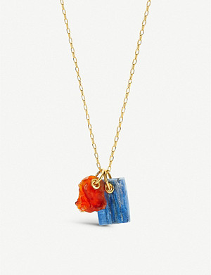 MONICA VINADER Monica Vinader x Caroline Issa 18ct gold-vermeil, kyanite and orange carnelian necklace