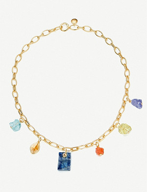 MONICA VINADER Monica Vinader x Caroline Issa 18ct gold-vermeil and gemstone necklace