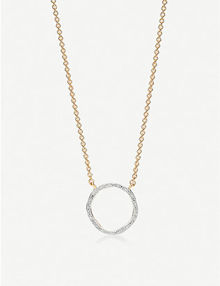 MONICA VINADER: Riva 18ct gold-vermeil and pave diamond necklace