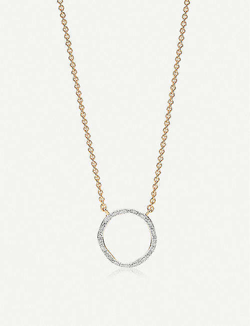 MONICA VINADER Riva 18ct gold-vermeil and pave diamond necklace