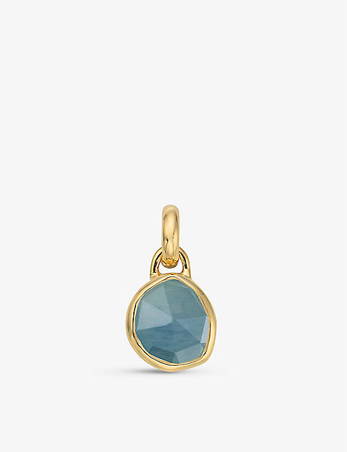 MONICA VINADER: Siren mini 18ct gold-plated vermeil sterling silver and aquamarine bezel pendant