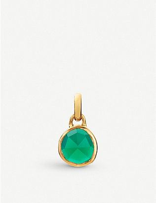 MONICA VINADER: Siren mini 18ct rose gold-plated vermeil silver and green onyx pendant