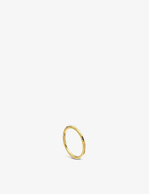 MONICA VINADER: Siren hammered 18ct gold-plated vermeil silver ring