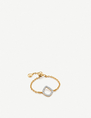 MONICA VINADER Riva 18ct gold-vermeil and pave diamond ring