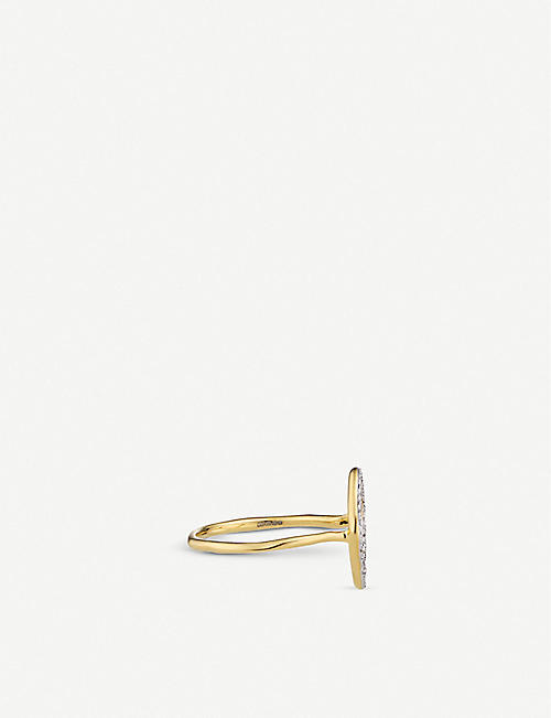 MONICA VINADER Riva hoop 18ct yellow gold-plated vermeil sterling silver and diamond ring
